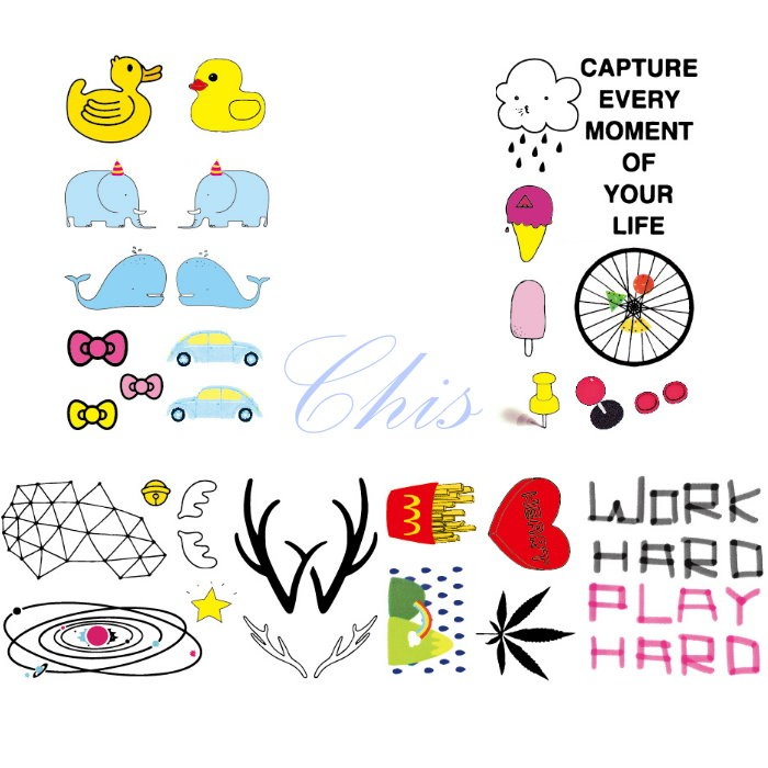 Chis Store fn【彩色個性刺青貼紙】韓國原宿風 英文字母 宇宙 薯條 楓葉 冰淇淋 小象 卡通汽車防水紋身貼紙