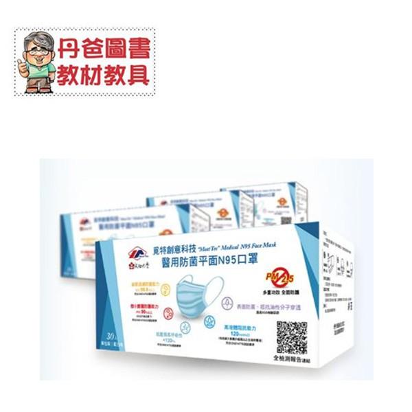 覓特創意科技醫用防菌平面N95口罩(成人款/30入/藍白色)+(限時特贈:白因子肌膚清潔防護液100ml)