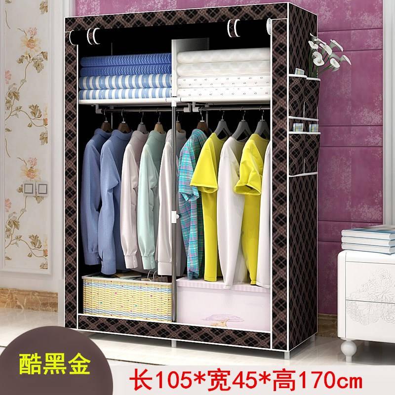 簡易布衣柜鋼管加固不銹鋼掛衣架組裝柜 耐重衣櫥 儲物收納柜子 組合衣櫃 簡易衣櫃 防塵衣櫃 學生衣櫥 收納櫃雜物柜
