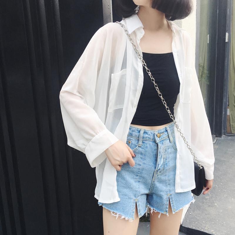 女生外套 防曬外套 薄外套防曬衣女學生韓版夏季清新風衣社會時尚精神情侶裝上衣透明bf風