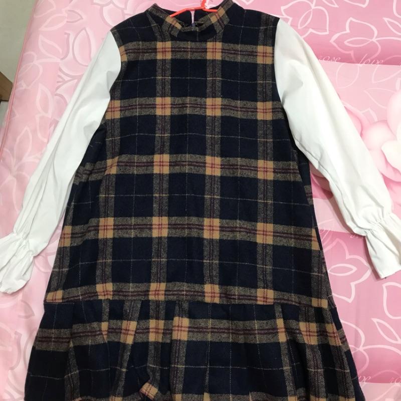 可愛風格紋連身長袖洋裝