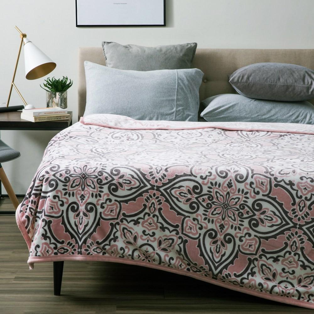 HOLA 亞恩斯防靜電超細纖維毯 粉色款 雙人尺寸