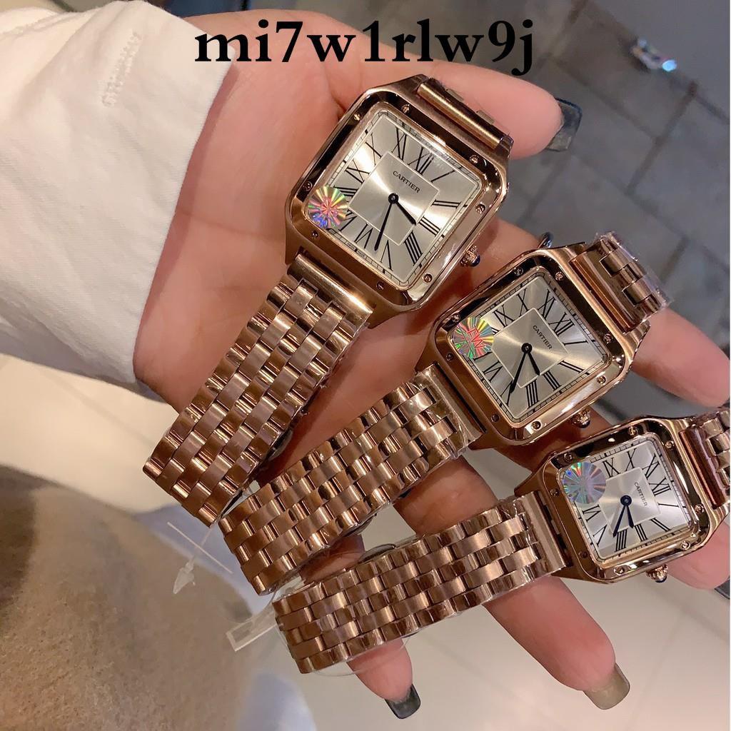 ♕✚◘夢-Cartier卡地亞山度士Santos-Dumont腕表手錶石英女錶鋼帶美洲豹腕錶Cartier女款腕錶時尚女