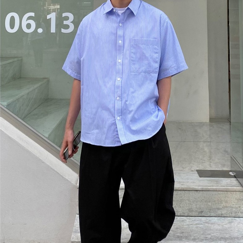 【FADE.MEET】條紋短袖襯衫 4006