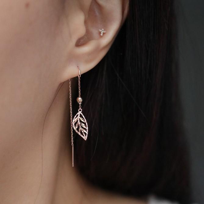 14K Shining Leaf Long Earring 閃亮葉子長耳環