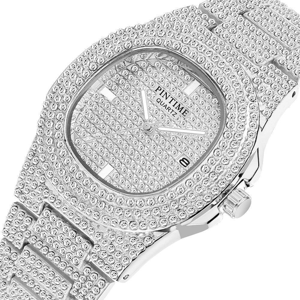 PINTIME/品時  PT2548半鑽  鋼帶手錶百達鑲鑽滿天星男女士腕錶 日曆石英錶歐美爆款 Keia