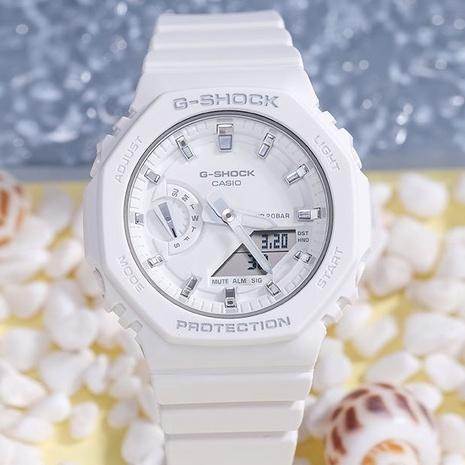 卡西歐手錶女新款防水電子錶學生潮流八角白色錶盤女錶GMA-S2100
