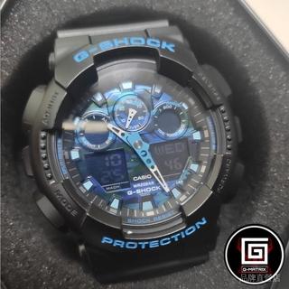 CASIO 卡西歐 G-SHOCK 情侶款 機械手錶 迷彩玩酷雙顯手錶 藍黑 防水200米耐衝撞 GA-100CB-1A