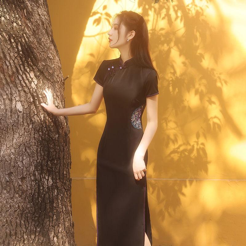 新款女夏季旗袍2021年黑色高端高貴年輕款少女日常復古改良連衣裙【15天內發貨】