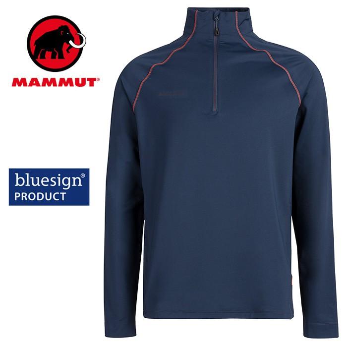 【Mammut 長毛象 瑞士】Snow ML 立領長袖排汗衣 機能衣 運動上衣 男款 海洋藍 (02400-5118)