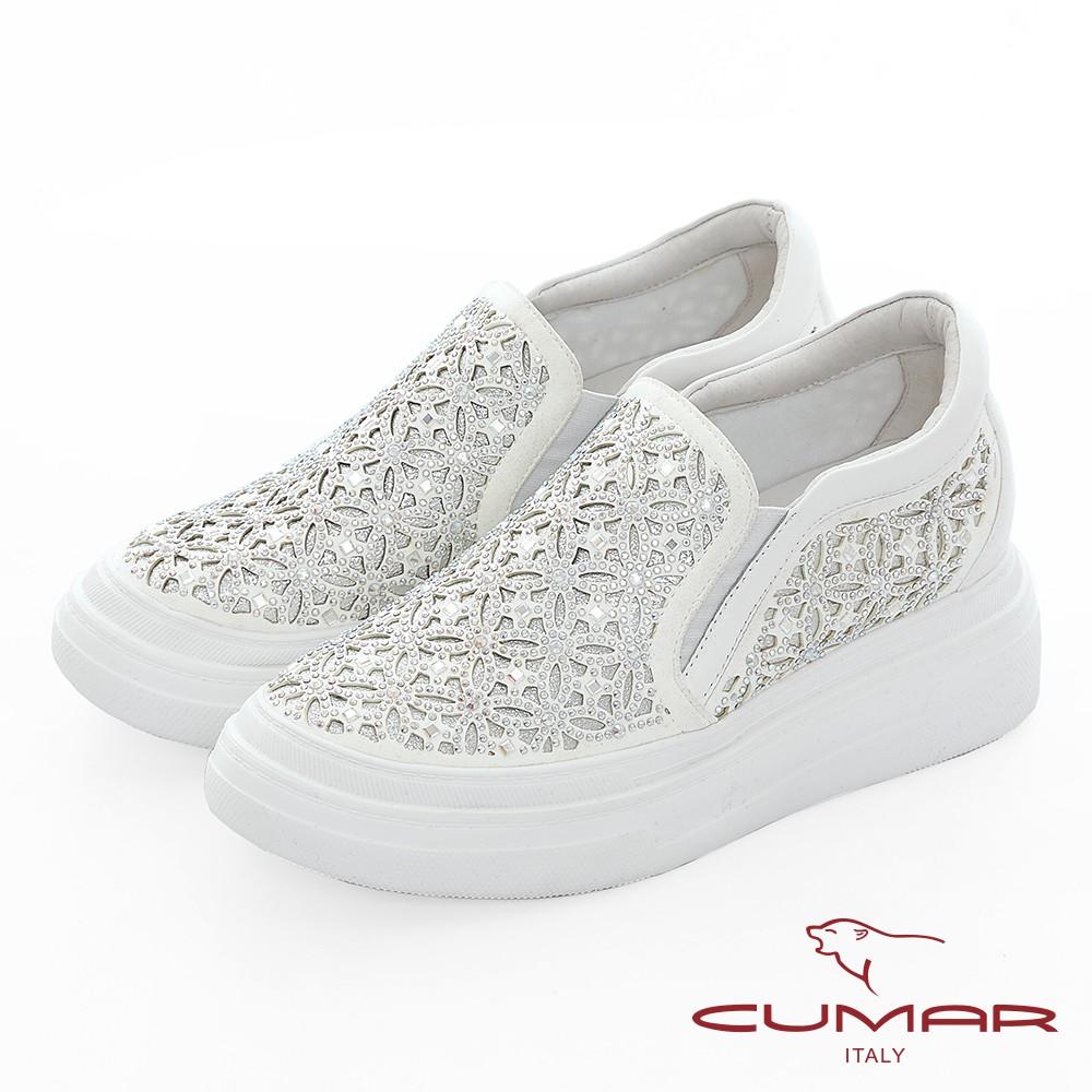 【CUMAR】悠遊輕井澤 - 網眼鏤空雷射花朵鑽飾厚底懶人休閒鞋 - 耀眼白