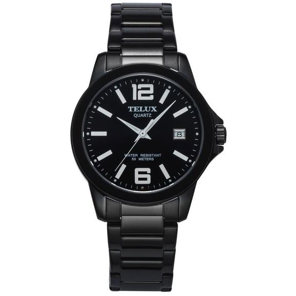 [缺貨中]台灣品牌手錶腕錶【TELUX鐵力士】輕薄質感數字腕錶手錶40mm台灣製造石英錶7002BK-BK11黑鋼帶黑面