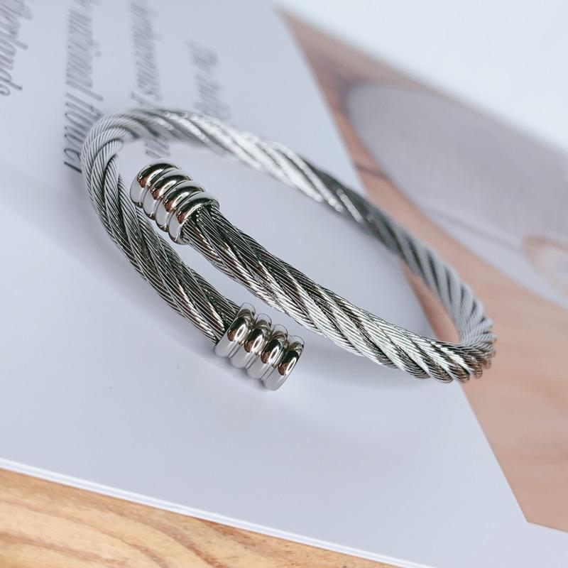 「316L醫療鋼 粗版銀色鋼絲手環」
