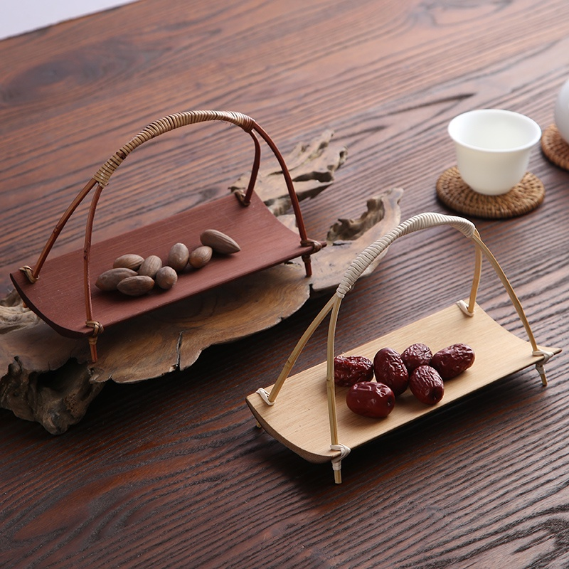 【#熱銷款】竹編手提方形籃 精緻竹製盛物籃茶則 點心提籃瓜子盤水果盤竹籃
