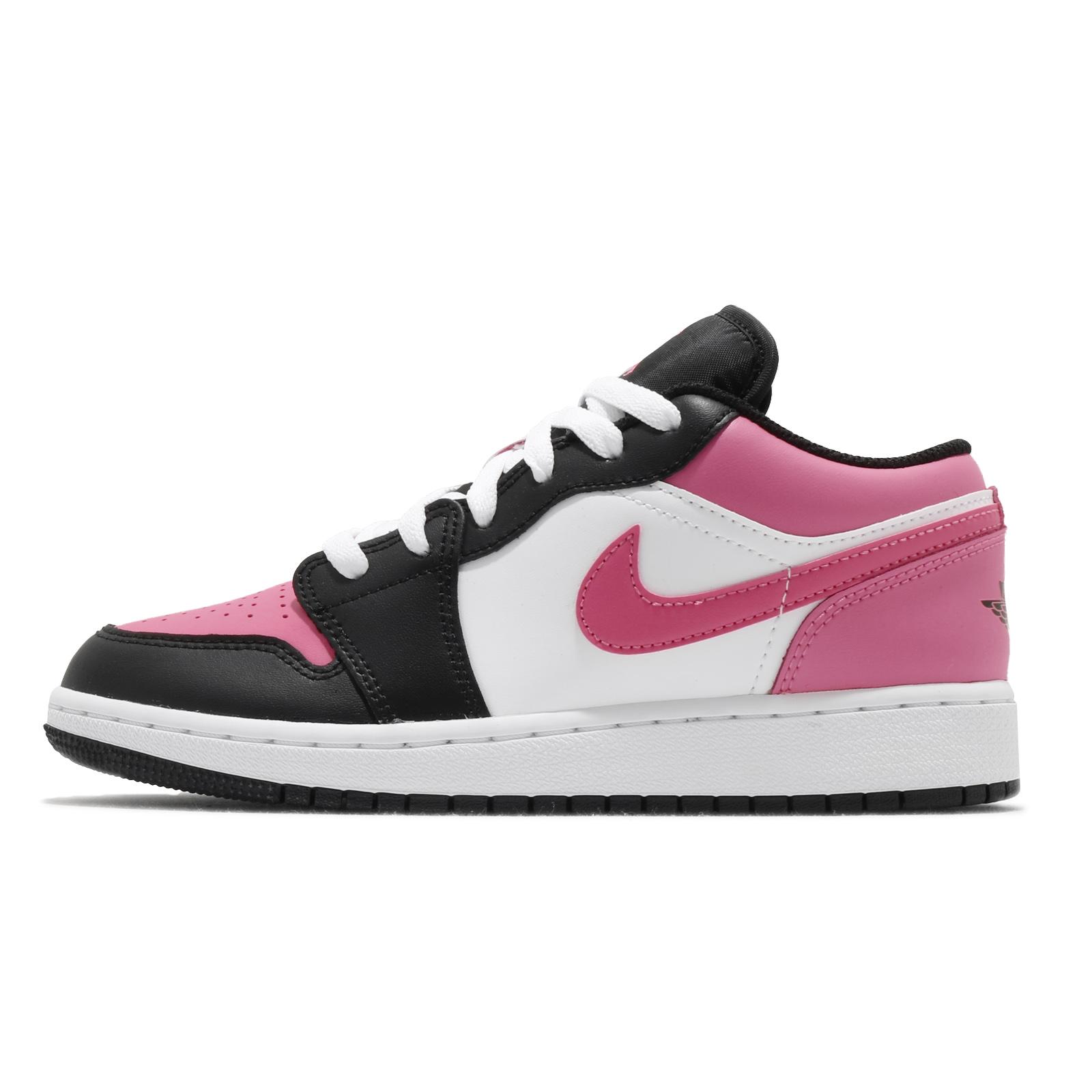Nike Air Jordan 1 Low GS 黑 白 粉紅 低筒 喬丹 1代 女鞋 【ACS】 554723-106