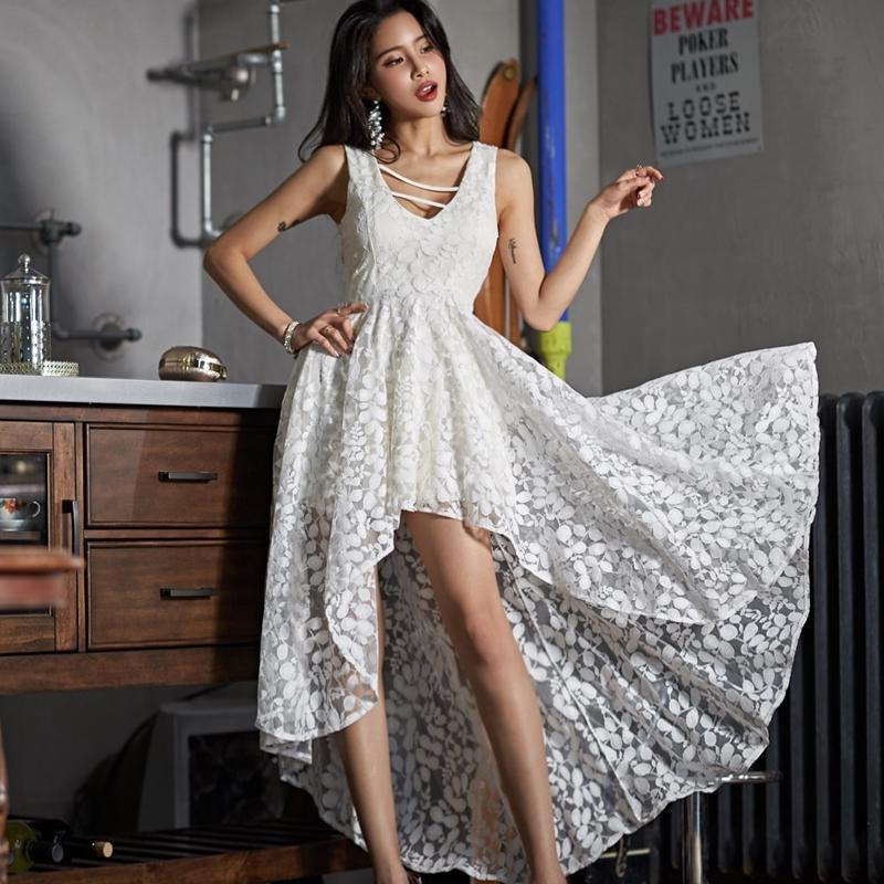 前短後長燕尾洋裝a字裙連衣裙2019韓版時尚氣質顯瘦伴娘禮服裙不規則燕尾度假蕾絲連衣裙