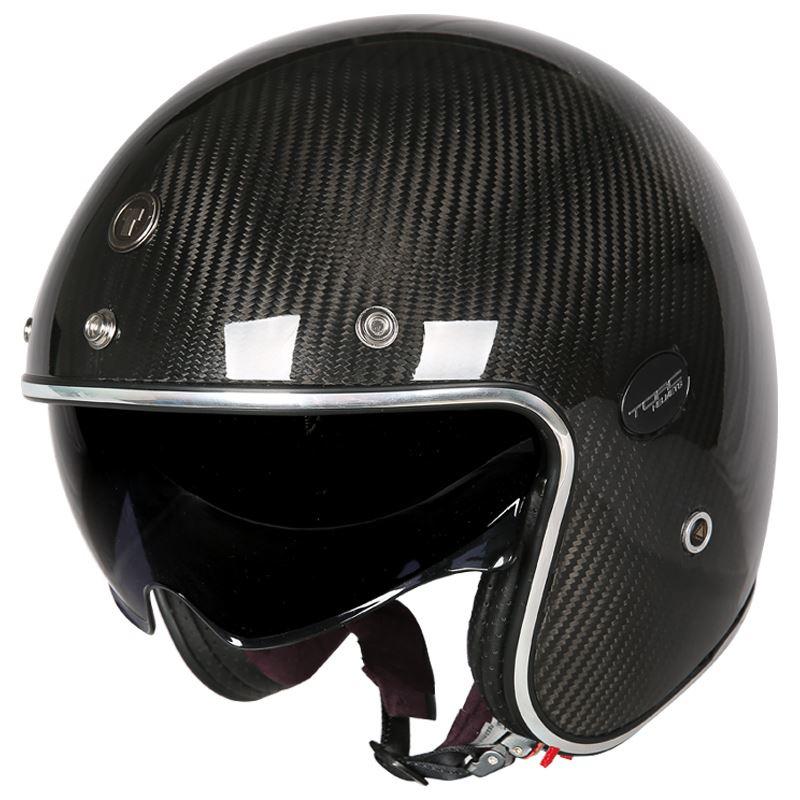 TORC碳纖維復古頭盔男女夏季機車哈雷半盔特大碼機車安全帽四季A828