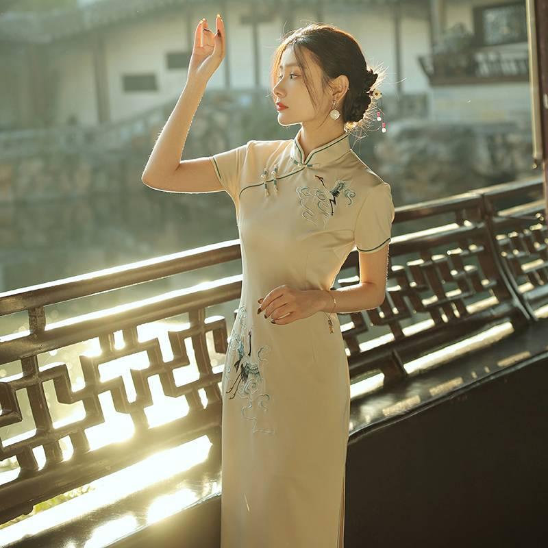 高端旗袍2021年新款氣質年輕款少女復古民國高貴長款改良版連衣裙