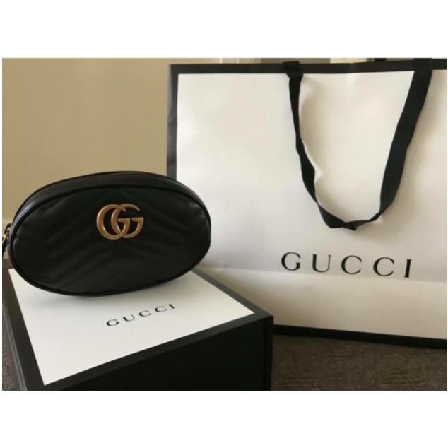 專櫃正品 GUCCI GG Marmont 皮革 腰包 可斜背 黑色 476434