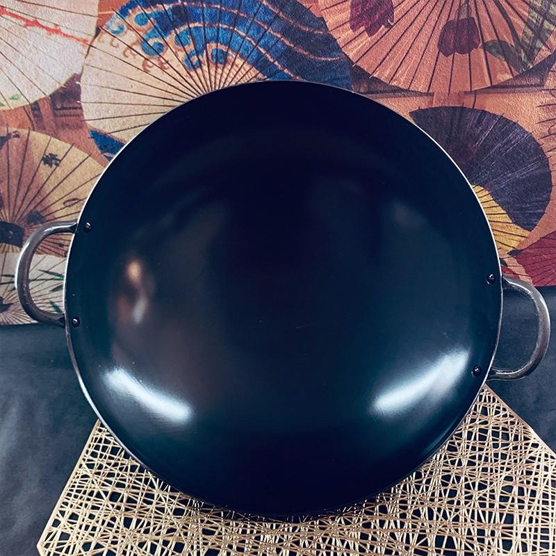 日本SUMMIT進口中華炒鍋大鐵鍋廚師專用炒菜專用精鐵雙耳