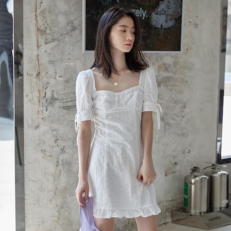 [免運]刺繡洋裝 198729港味顯瘦氣質收腰短裙