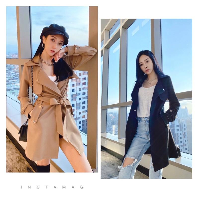 韓版熱銷 現貨 特賣 ]翻領單釦腰綁帶 時尚氣質挺版顯瘦風衣外套
