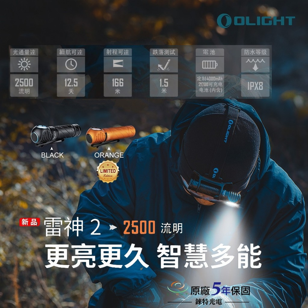 【錸特光電】OLIGHT PERUN 2 雷神2 2500流明 感應L型轉角燈 頭燈 EDC手電筒 21700 磁吸充電