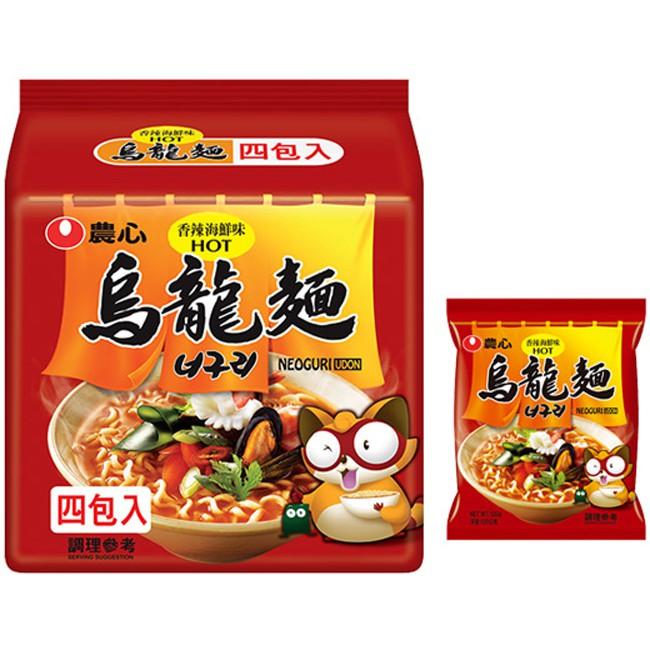 韓國 農心 香辣海鮮烏龍麵4入(整袋裝)浣熊麵【小三美日】D157877
