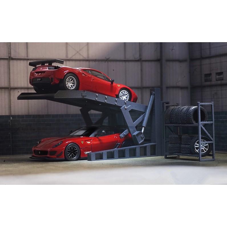 1:64 車庫維修車間 場景配件 停車場 架子升降機 輪胎架 for多美卡 綠光可放