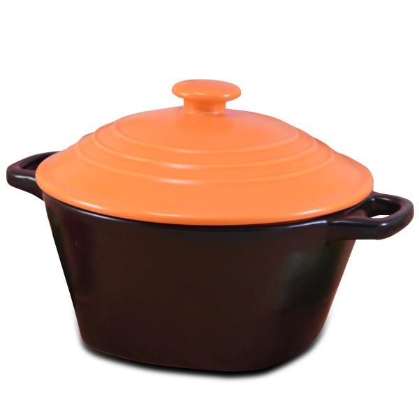 【堯峰陶瓷】鶯歌製造橘色彩繪湯鍋 圓蓋 陶鍋 滷味鍋 燉鍋 (3~4人份)超耐用