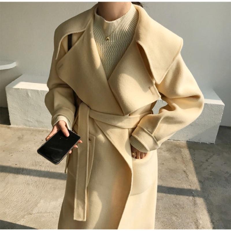 新款✨暖黃色 大翻領 大翻領90%澳毛10%羊駝毛雙面羊毛手工大衣