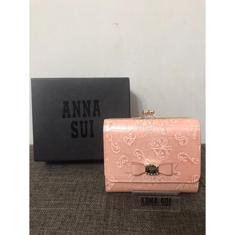 全新ANNA SUI粉色典蝶珠扣短夾