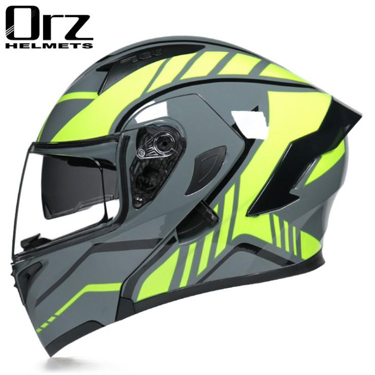 .Orz頭盔男女電動摩托車揭面盔全盔尾翼半盔安全帽個性冬季機車灰
