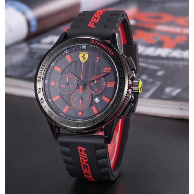 新款法拉利運動手錶三眼可動防水手錶時尚潮流潮流手錶石英機芯男錶女錶情侶對錶畢業禮物