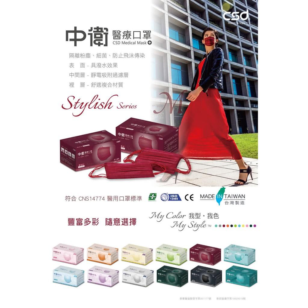 中衛櫻桃紅盒裝50入   成人平面口罩