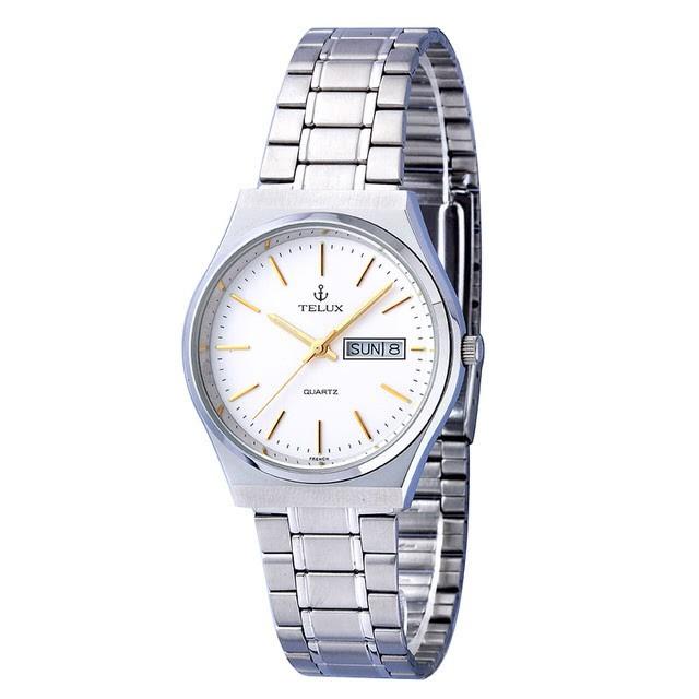 台灣品牌手錶腕錶【TELUX鐵力士】經典簡約腕錶35mm台灣製造石英錶7500W-W12鋼帶白面金釘另有女款