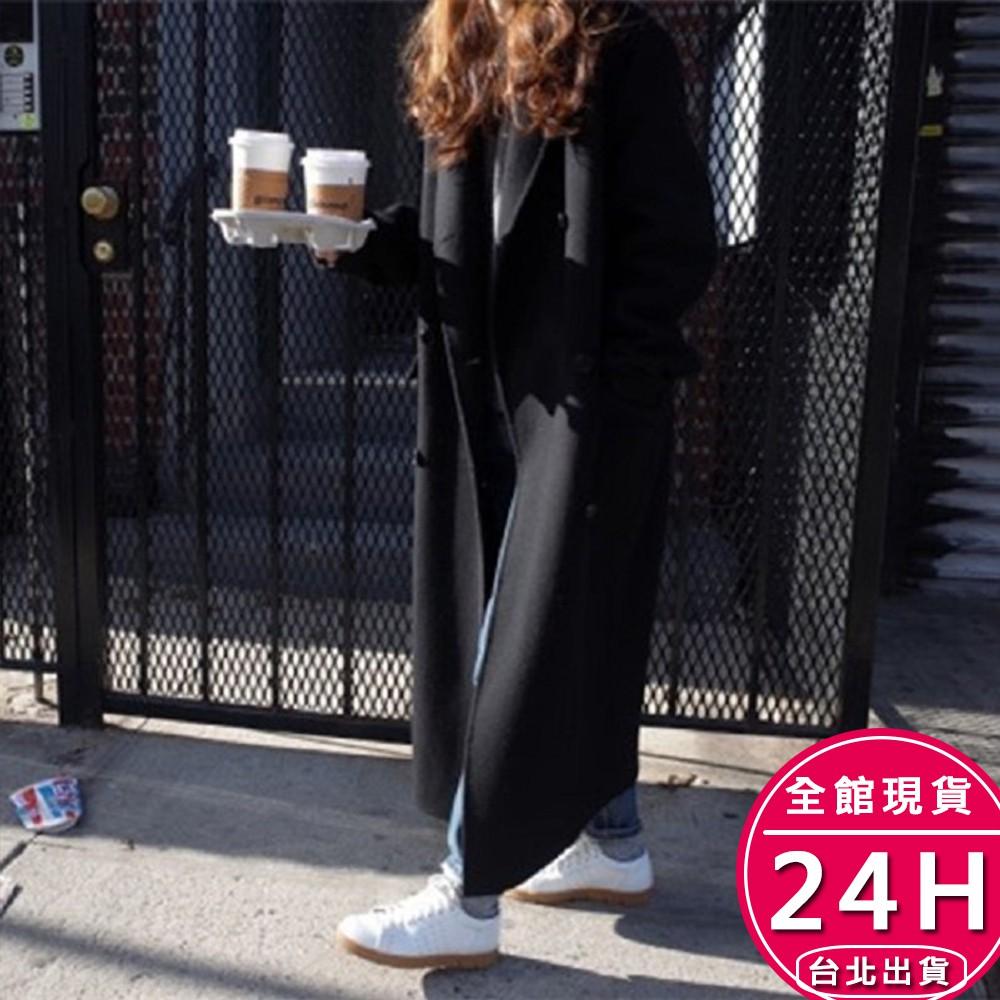 梨卡 - 雙排釦立領風衣大衣外套-英倫風仿羊絨卡其色黑色長款顯瘦防風保暖風衣外套超長大衣FR028【現貨24H】