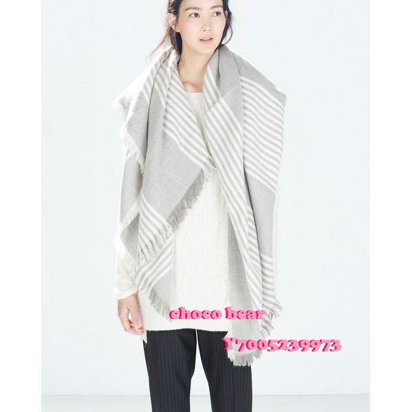 秋冬新款 時尚超百搭條紋圍巾 歐美系大方巾