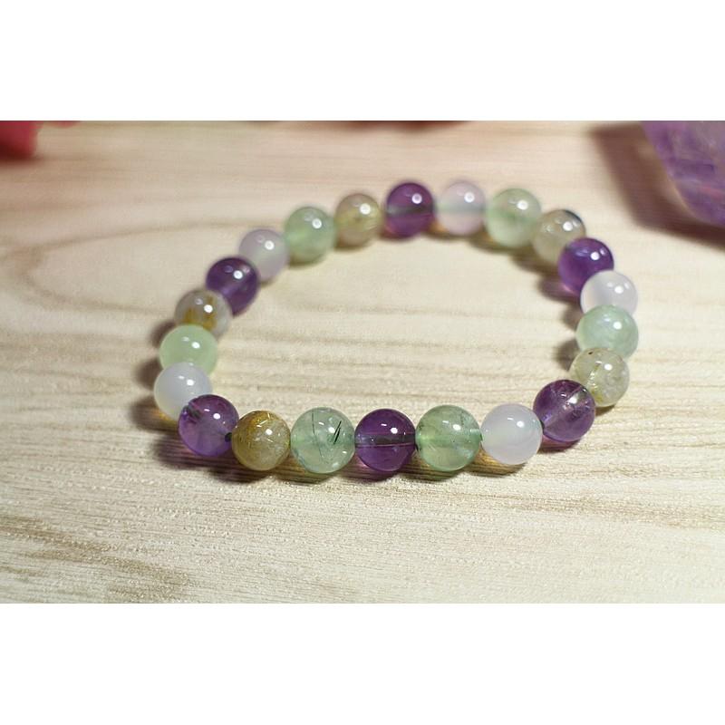 石曜 -天然 金髮晶 紫水晶 葡萄石 白玉髓 水晶手鍊 多色款 素面圓珠款 59-6
