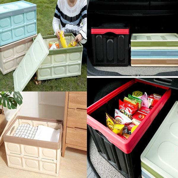 30L~55L多功能折疊收納箱 汽車整理箱居家置物箱 旅遊露營置物收納 折疊籃雜物箱衣物玩具收納【YV9749】BO雜貨