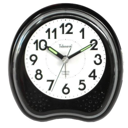 Telesonic/天王星鐘錶 霓虹光鬧鐘黑色 靜音機芯 貪睡功能 音樂鬧鐘