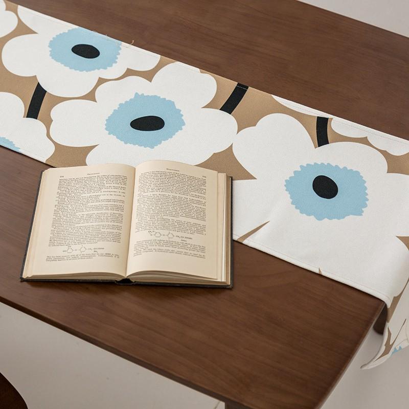芬蘭設計師同款桌旗布藝棉麻桌旗防水防燙桌旗加厚餐桌桌旗長方形 創意桌布 蓋布 餐廳佈置