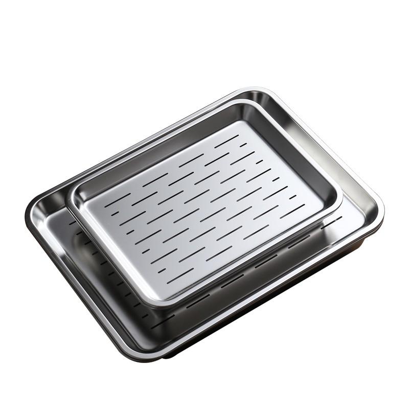 熱賣新款 現貨 304不銹鋼茶盤長方形放水杯托盤日式瀝水控油漏盤餃子蒸盤簡約孔