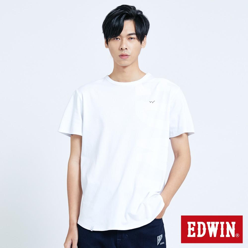 EDWIN 長版涼感剪接短袖T恤(白色)-男款