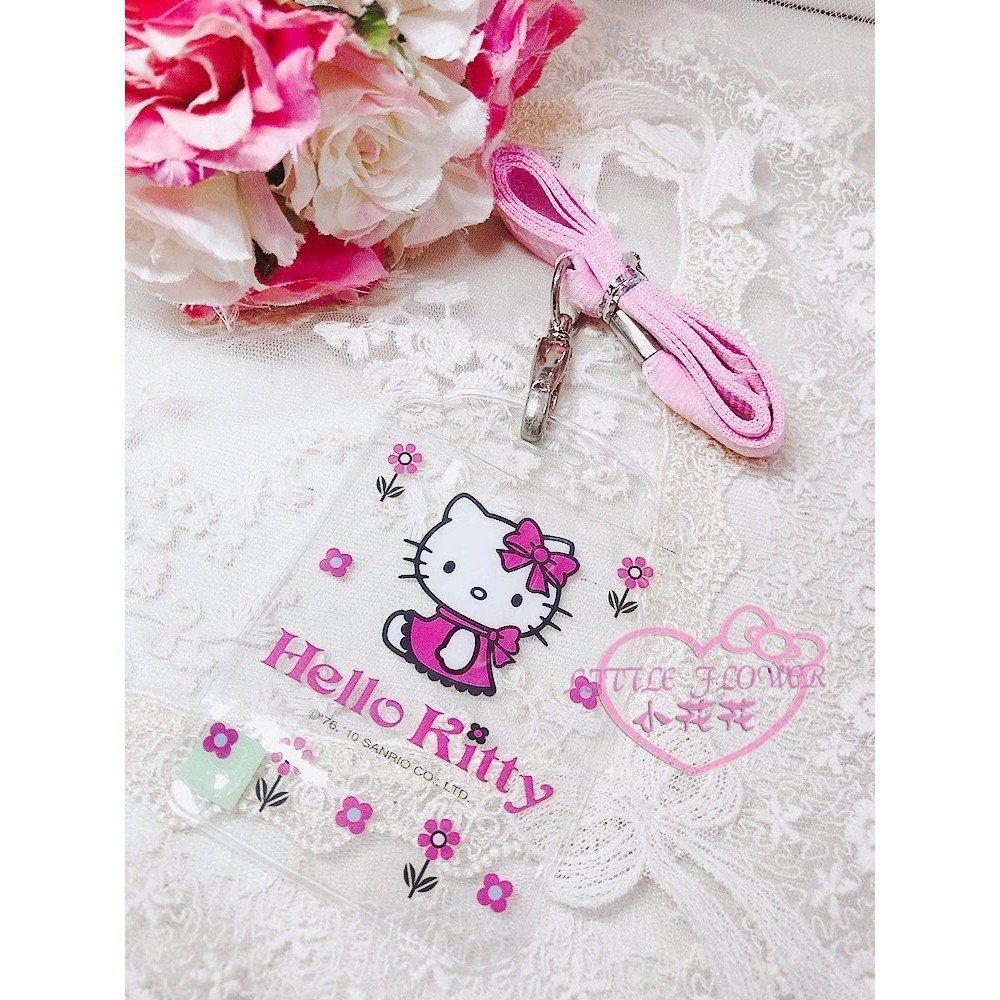 ♥小花花日本精品♥ 出清價HelloKitty 凱蒂貓粉紅色織帶證件套組 透明卡套證件套 悠遊卡套 一卡通