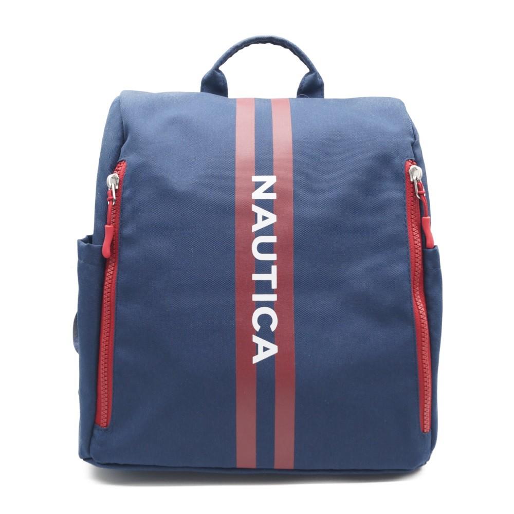 NAUTICA運動休閒時尚雙肩後背包/國際知名品牌/海軍藍紅條紋/經典百搭款