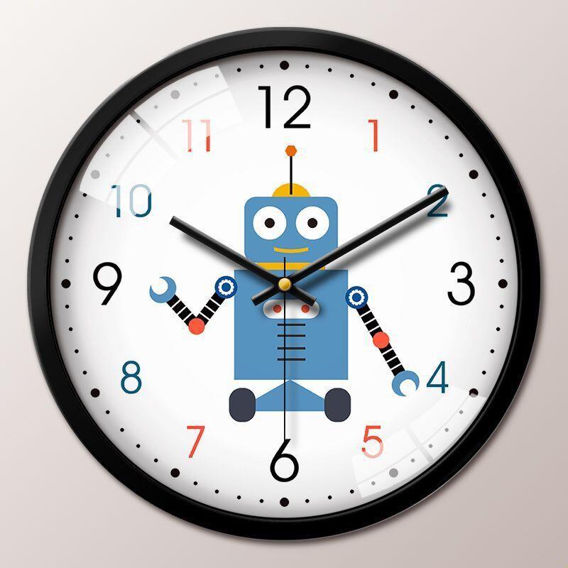 熱賣┲卡通掛鐘客廳創意可愛機器人時鐘兒童房靜音鐘表編程早教中心掛表