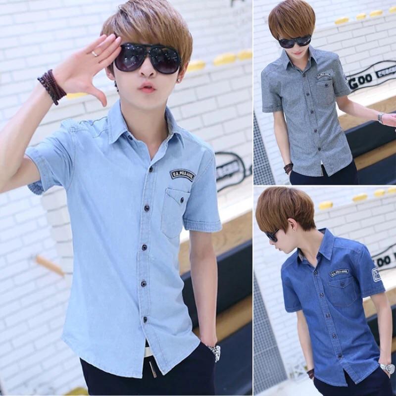 夏季薄款 韓版修身短袖襯衫