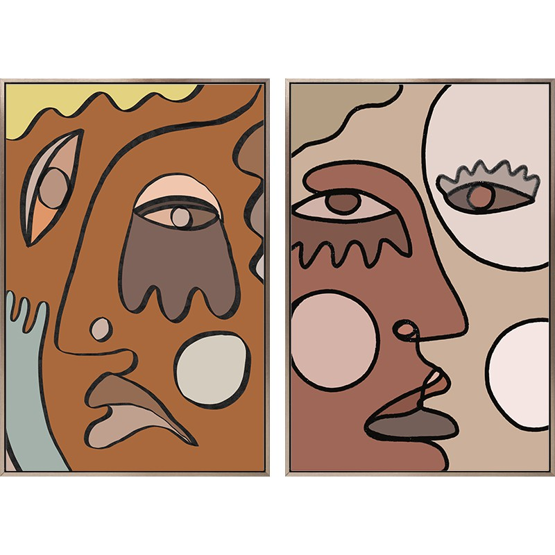 【全館免運】情緒的吶喊北歐客廳裝飾畫小眾抽象莫蘭迪壁畫玄關走廊背景墻掛畫