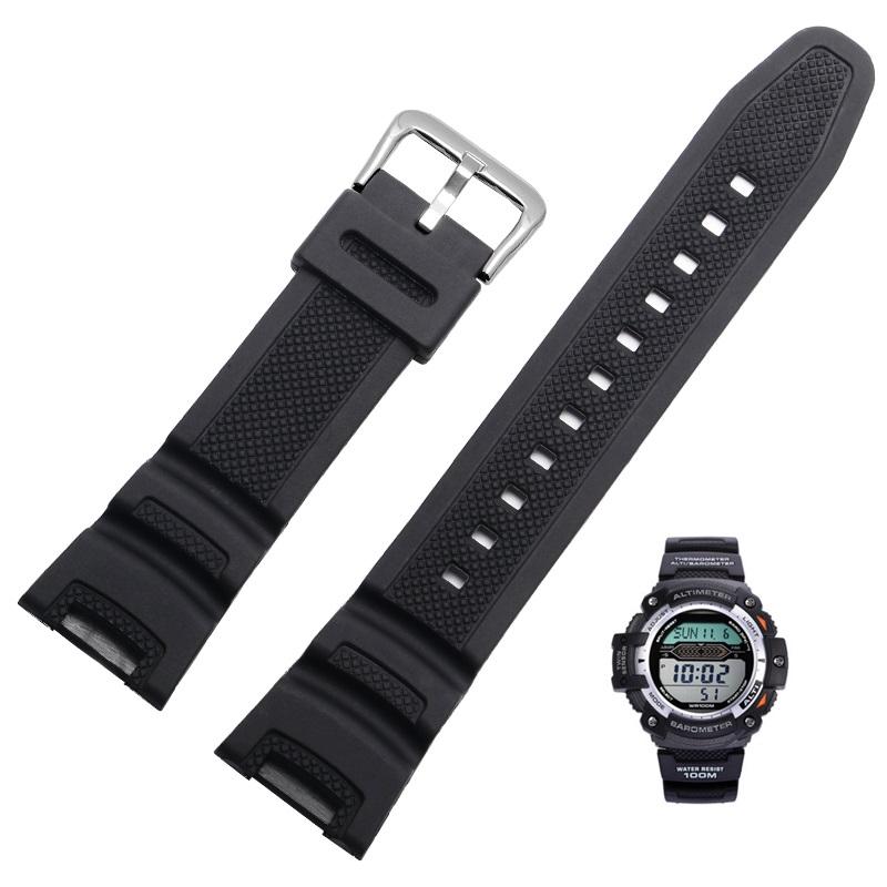 卡西歐手錶帶,用於雙傳感器Sgw100 Sgw-100-1v黑色橡膠錶帶